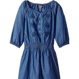 Lucky Brand Dress Girls Chambray Smocked Suki XL